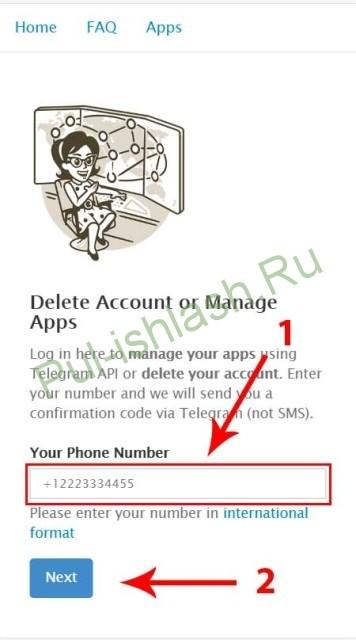 telegramni o'chirish sahifasi